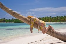 Free Girl And Palm Tree Stock Images - 5291334