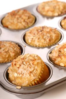Freshly Baked Tropical Pineapple Muffins With Nuts Stock Photo