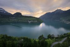 On The Evening Lake, Switzerland Royalty Free Stock Images