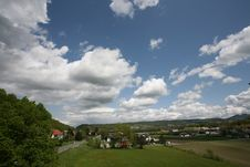 Free Blue Sky Over Swiss Land Royalty Free Stock Photo - 5292325