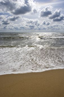 Free Beach Seascape With Puffy Clouds Royalty Free Stock Images - 5292679