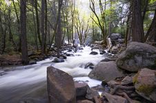 Secluded Cascase In Yosemite Royalty Free Stock Photo