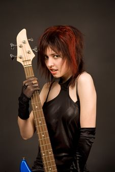 Free Beautiful Girl With Bass Guitar Stock Images - 5294084