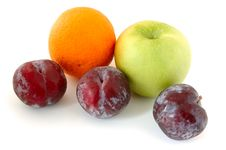 Free Apple, Orange And Plums. Royalty Free Stock Photography - 5295807