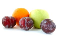 Free Apple, Orange And Plums. Stock Photography - 5295842