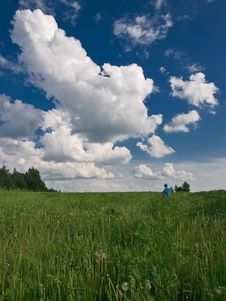 Free Meadow And Boy Stock Photo - 5295860