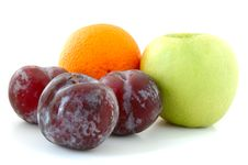 Free Apple, Orange And Plums. Royalty Free Stock Photography - 5295957