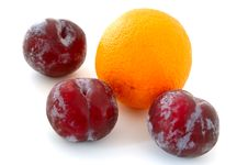 Free Plums And Orange. Stock Images - 5296054