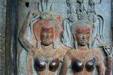 Cambodia Angkor Wat: Bas Reliefs Stock Photos