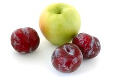 Free Plums And Apple. Royalty Free Stock Images - 5296179