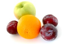 Free Apple, Orange And Plums. Royalty Free Stock Photo - 5296225