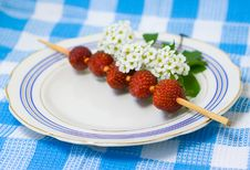 Free Strawberry Barbecue On Plate Stock Image - 5296691
