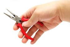 Free Flat-nose Plier In Hand Stock Photo - 5297120