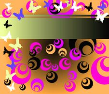 Colored Circles And Butterflies Royalty Free Stock Photos