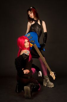 Free Two Girls With Guitar, Smoking Royalty Free Stock Photos - 5297898