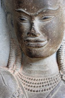 Cambodia; Angkor Wat; Face Of Apsara Stock Photo
