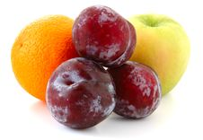 Free Apple, Orange And Plums. Royalty Free Stock Photo - 5297975