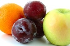Free Apple, Orange And Plums. Stock Photos - 5298003