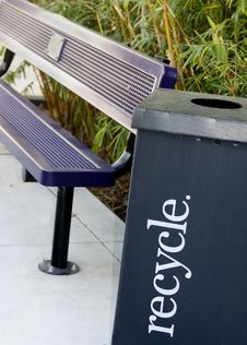 Free Recycle Box Next To Park Bench Stock Photos - 5298733
