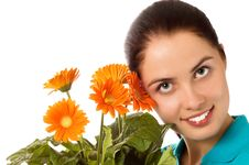 Free Young Smiling Woman With Gerber Flowers Royalty Free Stock Photography - 5299617