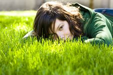 Free Young Woman In The Grass Stock Images - 5299984