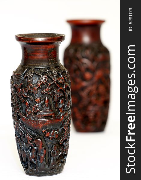 Bottle of the wood carving.