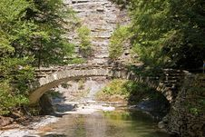 Stone Bridge In The Forest Royalty Free Stock Photos