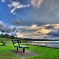 Free Empty Park Benches At Sunset Royalty Free Stock Photography - 5307017