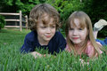 Free 2 Kids In The Grass Stock Image - 5308301