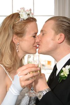 Free Bride And Groom Toasting Champaign Royalty Free Stock Image - 5300286