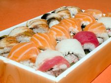 Free Rolls And Sushi Japanese Traditional Food Stock Photos - 5301393