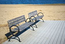 Beach Benches Stock Images