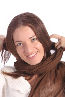 Free Beautiful Young A Woman With Brown Scarf Royalty Free Stock Photography - 5301647