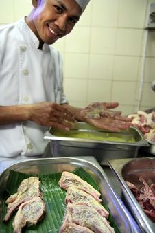 Chef In Butcher Royalty Free Stock Image