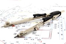 Free Building Plan With Pair Of Compasses And Rolling M Stock Image - 5302821