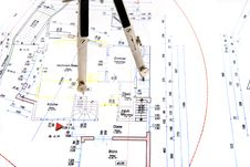 Free Building Plan With Pair Of Compasses And Rolling M Royalty Free Stock Image - 5302826