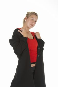 Girl With Black Jacket Stock Photo