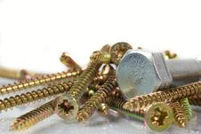 Free Bronze And Nickel Screws Over White Stock Image - 5304931