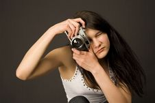 Free Fashion Girl With Camera Royalty Free Stock Image - 5305126