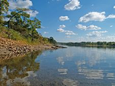 Free River Landscape With Clouds Reflection Stock Photos - 5305323