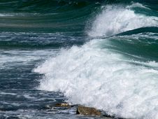 Big Surf Wave On The Sea Beach Royalty Free Stock Photo