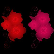 Free Red Pink Flowers On Black Stock Image - 5305841