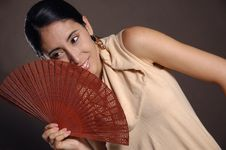 Free Hispanic Woman With Fan Stock Photos - 5306053
