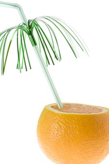 Free Chopped Orange With Green Decorated Drinking Straw Stock Photos - 5306733