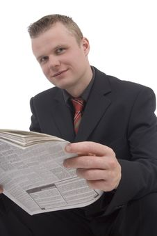 Free Man With Newspaper Royalty Free Stock Photos - 5306878