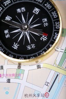 Free Compass On Map Stock Photo - 5307040