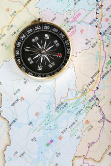 Free Compass On Map Stock Photo - 5307050