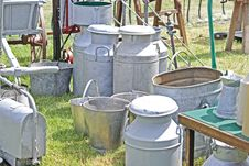 Free Old Milk Churns And Buckets Royalty Free Stock Photography - 5307207
