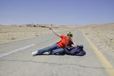 Free Hitchhiking Woman Stock Images - 5308594