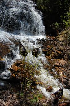 Free Man Viewing Waterfall Stock Photo - 5308850